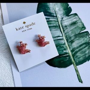 Kate Spade Pink Pave' Crystal Frog Stud Earrings